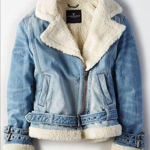 AE Denim Moto Sherpa Lined Jacket